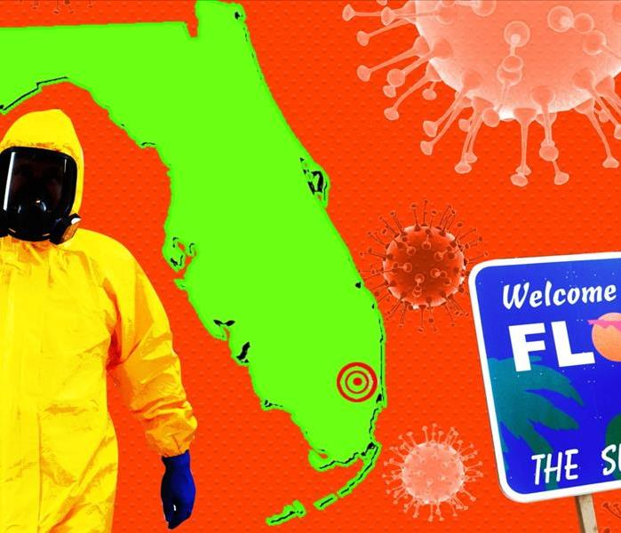 Florida outline, person in yellow tyvek suit and mask